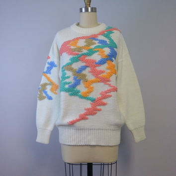 Vintage 80s Ivory Sweater Woven Multicolor Design by FABE