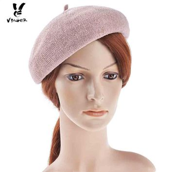 Vbiger Women Billycock Vintage Beret Breathable Fascinator Hats Sweet Beanie Hat Wedding Billycock