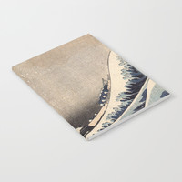 Hokusai the wave 1-hokusai,manga,fugi,japan,kanagawa,wave,edo,mount fuji Notebook by oldking
