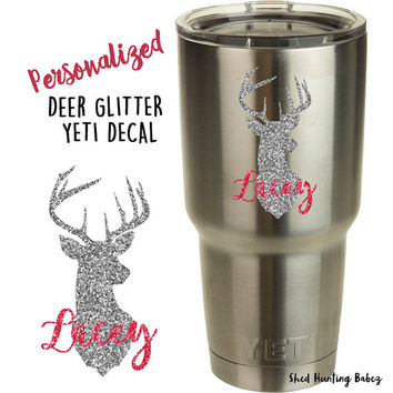 Glitter Whitetail Deer Head Name Decal Yeti Tumbler Decals | 8 glitter colors!