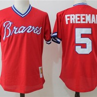 Men's Atlanta Braves Freddie Freeman Mitchell & Ness Red 1980 Authentic Cooperstown Collection Mesh Batting Practice Jersey