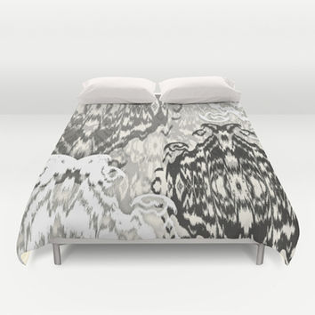 Ikat Medallions: Off Black Duvet Cover by Eileen Paulino