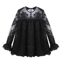 Black Floral Embroidered Sheer Long Sleeve Pleated Blouse