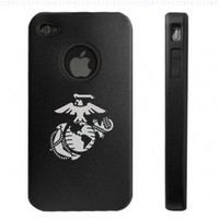 Apple iPhone 4 4G Black Aluminum & Silicone Case Marines