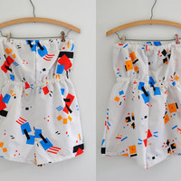Vintage 1980s Primary Colors GEOMETRIC White Strapless Romper Playsuit M