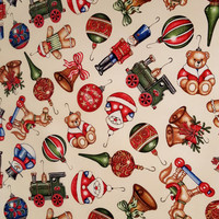 CHRISTMAS ELEGANCE Cotton Fabric Vintage Antique Ornaments on Buttermilk Cream Half Yard Christmas Fabric for Creative Genius Projects