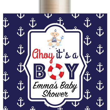 Nautical Baby Shower Lip Balm/Set of 5/Nautical Invitation/ Baby Boy Birthday/It's a Boy Invite/Nautical Baby Shower/Nautical Baby Card
