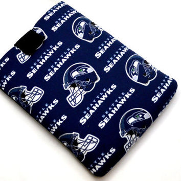 Hand Crafted Tablet Case From Licensed NFL Seattle Seahawks Football Team Fabric /Case for: iPad, Samsung Galaxy , Google Nexus,Nook HD