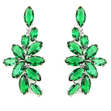 FC Chandelier Dangle Drop CZ Bridal Green Flower Swarovski Elements Crystal Earrings