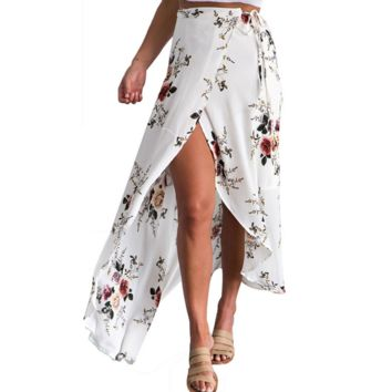 Sexy print flower open side long skirt white
