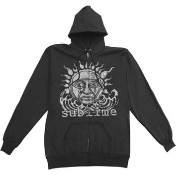 Sublime Men's  Sun Black Zip Hoodie Zippered Hooded Sweatshirt Black