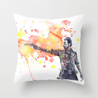 Portrait of Rick Grimes from The Walking Dead Throw Pillow by Idillard