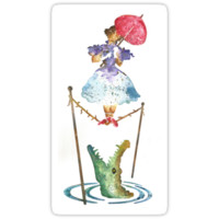 'Perilous Pink Parasol - Stretching Portrait' Sticker by Batg1rl
