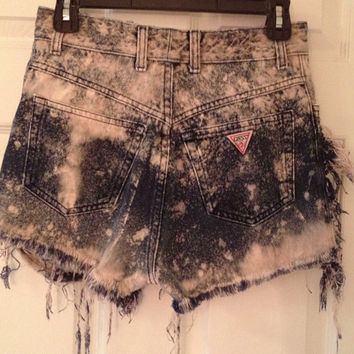 Ripped bleached grunge high waisted Guess shorts