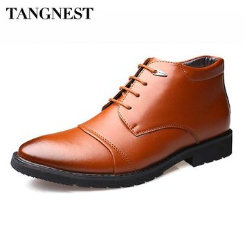 Tangnest NEW Men's Snow Boots Split Leather Lace-up Ankle Boots Fashion Pointed Toe