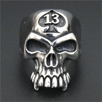 Lucky 13 Skull Ring Drag Bike Ring