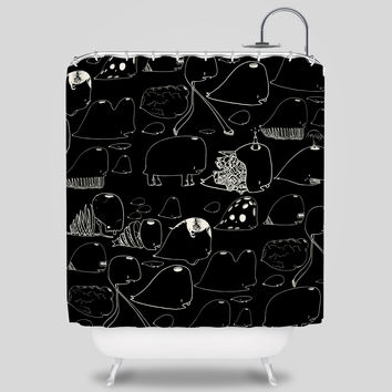 Choe Whales Shower Curtain by David Choe
