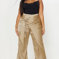 Plus Stone Satin Tie Waist Wide Leg Pants