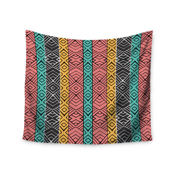 """Pom Graphic Design """"Artisian"""" Pink Teal Wall Tapestry"""