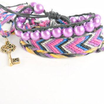 Dark Victorian Friendship Bracelet Set with Key Charm Theme Purple Pink Magenta Blue Silver Black Chevron Beaded Braids Pookie Design