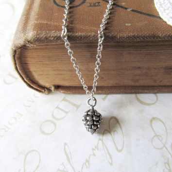 PINING for you petite pinecone charm necklace silver by brideblu