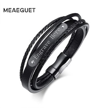 Meaeguet Free Engrave & Laser Black Layered Braided Microfiber Leather ID Bracelet Stainless Steel Bracelet & Bangle Men Jewelry