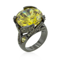 Hematite Yellow Stone Cocktail Ring