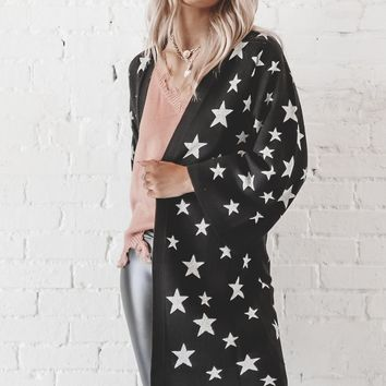 CHASER Star Intarsia Black Duster