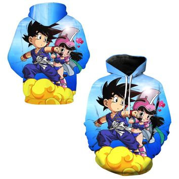 Child Son Goku And Chichi 3d Print Hooded Tops Exercise Skateboarding Hoodies Dragon Ball Z Male Hoody Training Sweatshirts Gym
