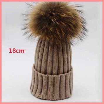 new 18cm real large raccoon fur pompom beanies ball female winter acrylic knitted solid cap warm striped hat fashion skullies