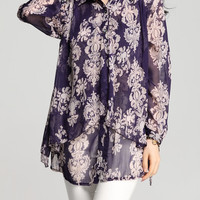 Purple Oversized Chiffon Blouse With Floral Print