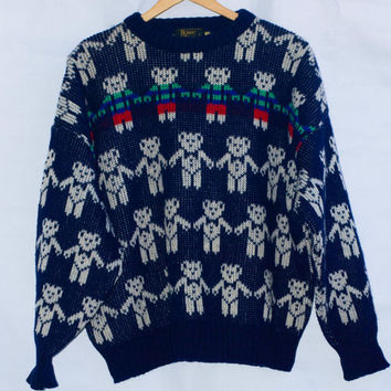 Vintage 80's Scottish wool Teddy Bear Jacquard Sweater/Jumper. Large.
