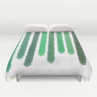 Green Stripes Bed Cover - Duvet Cover Only - Bed Spread - Comforter - Green Stripes Art - Bedroom Decor - Made to Order