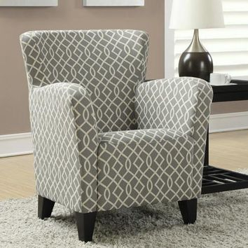 "Grey / Beige ""Wave"" Fabric Club Chair"