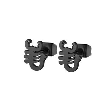 1Pair Well Defined Scorpion Earrings Stainless Steel Earring Hiphop Black Animal Ear Studs Jewelry For Women Kids Girls