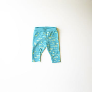 Arrows Organic Leggings in Pastels - Turquoise and Lime Green