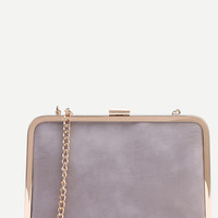 Grey Clip Frame Purse With Chain | MakeMeChic.COM