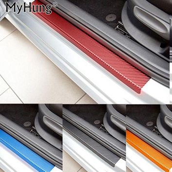 For Mitsubishi  ASX Lancer RVR 2011 2012 2013 2014 2015 car door sill scuff carbon fiber vinyl sticker Stickers 4pcs car styling