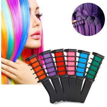 6 Pcs/Set Temporary Hair Chalk Disposable Hairs Color Comb Dye Salon Party Fans Cosplay Kits