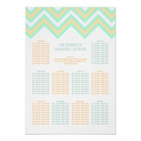 Chevron Zig Zag Wedding Seating Chart Peach & Mint Print
