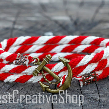 SALE! Anchor Bracelet / Red White Bracelet / Sea Nautical Cotton Bracelet / Marine Rope Bracelet / Mens Bracelet Women / Men Rope Bracelet