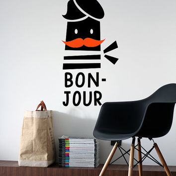 Bonjour Vinyl Decal - French Guy with Red Mustache, Striped Top & Bonnet