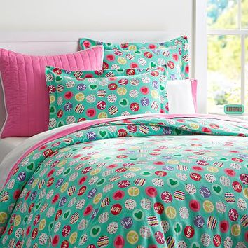 Peace And Love Flannel Duvet Cover + Sham