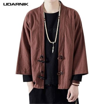 Men Coat Japanese Style Yukata Kimono 3/4 Sleeve Open Stitch Outwear Vintage Loose Cardigan Tang Suit Jacket Summer 223-139