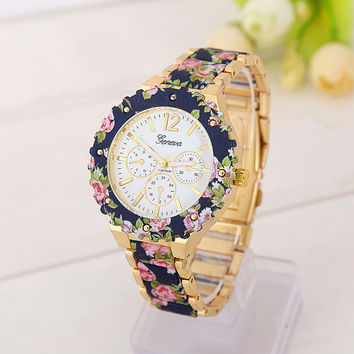 Floral Print Quartz Watch