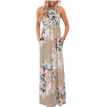 Floral Print Boho Dress Summer Sundress Sexy Pleated Maxi Long Dress 2018 Casual Dress Beachwear Femininos Plus Size LX328