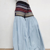 Light Blue Denim Cotton Ruffle Super Wide Legs Pants,Drawstring Waist Hmong Unique Bell Bottom Style (Jeans-H05).