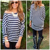 Glitter In My Veins Navy And Silver Striped Top