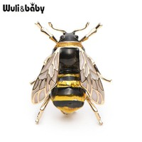 Wuli&Baby Enamel Bumblebee Brooches Men Women's Alloy Yellow Bee Insect Brooch Christmas Gift Broche Banquet Pins