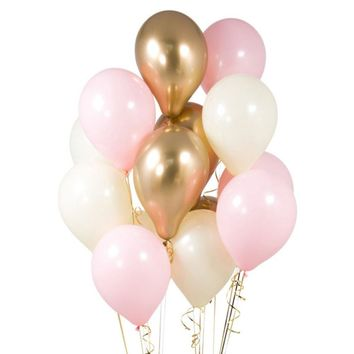 BABY PINK PARTY Balloons-Pink and Gold Balloons Bouquet, Pink Balloons, Baby Shower Balloons, Baby Pink Balloons, Girl's Birthday Balloons